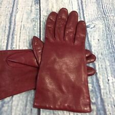 VTG Chic Italian leather wrist gloves Lined DEEP red size 7.5 Italy