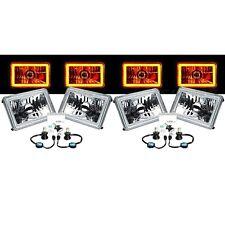 "4X6"" Amber SMD Halo Glass/Metal 6000K 40W 4000LM LED Headlight H4 Light Bulb Set"