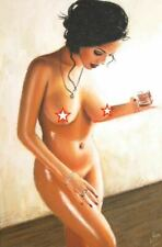 ORIGINAL PASTEL PIN UP PAINTING LOVELY YOUNG NUDE GIRL FEMALE WOMAN PINUP ART