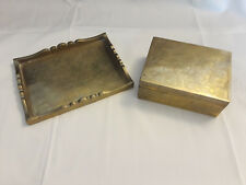 Vintage Collectible Brass Vanity Set Trinket Box And Tray Floral Design