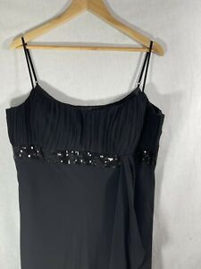 Debut ladies occasion long dress black tulle empire style strappy size 18