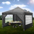 Grey POP UP GAZEBO 3x3m Heavy Duty Waterproof Market Stall Marquee Canopy Tent