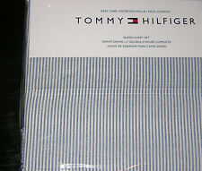 Tommy Hilfiger Navy Blue & White Chambray Stripe QUEEN Sheet Set--NWT