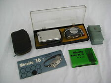 "Vintage Minolta ""16"" II Subminiature Camera with Baby BC-III Flash and Case"