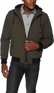 Levis Mens Soft Shell Jacket with Fleece-Lined Hood | Size  Medium | Green