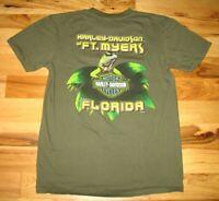 Harley Davidson Ft Myers Florida Iguana Graphic T Shirt Mens Medium