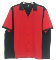 Hilton Mens Red Black Retro Style Short Sleeve Button Up Bowling Shirt Top 2X
