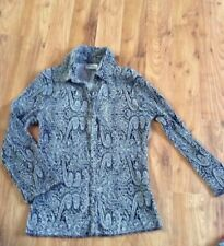 Ladies Uk 8 Next Smart Shirt Stretch Top Vgc Black And White Paisley 3/4 Sleeves
