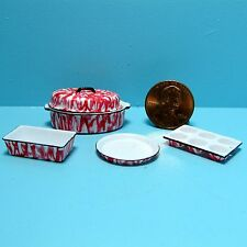 Dollhouse Miniature Kitchen Cookware Set with Red Spatterware Pattern CAR0863
