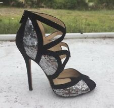 JIMMY CHOO Tempest Sequin Shoes Heels Black and Silver size 38.5/ Fits Us 8