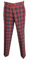 Mens Burgundy/Grey Tartan 60S 70S Retro Mod Vintage Sta Press Trousers