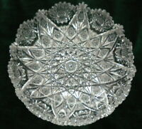 Exceptional American Brilliant Period Cut Crystal Antique Low Shallow Bowl 9""