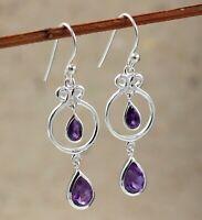 Amethyst Gemstone Women's Gift Drop Daily Wear Earring Solid 925 Sterling Silver