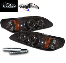 1994-1998 FORD MUSTANG SMOKE HALO DRL LED PROJECTOR HEAD LIGHTS LAMP W/WHITE DRL