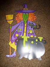 Halloween Die Cut Paper Decoration Glitter Witch Cauldron Cat Broom