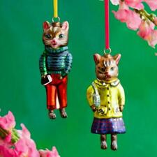 """SET OF 2 CATS IN CLOTHES ORNAMENTS 5.25"""" Glass Dressed Up Kitty Christmas Tree"""