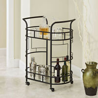 Bronze Metal Glass 2-Tier Cocktail Serving Bar Wine Liquor Storage Display Cart