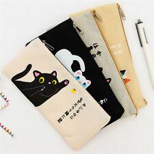Canvas Zipper Cartoon Cat Cute Pouch Pen Pencil Case Bag Box Storage Stationery