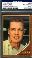 Norm Cash Psa/dna Authentic Signed 1962 Topps Autograph