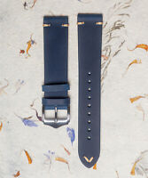Crazy Horse Matte Blue Genuine Leather Vintage Style Watch Strap 18mm,20mm, 22mm