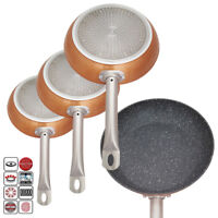 NEW 3 X NON STICK ALUMINIUM COPPER COATING INDUCTION HOB FRYING FRY PAN COOKWARE