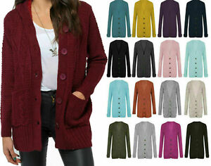 New Ladies Chunky Cable Knit Grandad Cardigan Button Long Sleeves