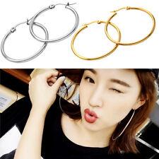 Chic Fashion Women Gold Silver Metal Big Circle Smooth Large Ring Hoop Earrings