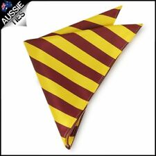 Mens Yellow & Maroon Striped Pocket Square Handkerchief Hanky