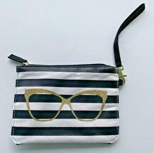 Betsey Johnson Stripe Black White Wristlet Purse Cosmetic Bag Clutch