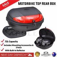 72L Motorcycle Motorbike 2 Helmet Top Rear Box Luggage Storage Case Lockable