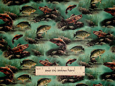 Fish Fabric Underwater Fish Scenic Green VIP Fishing Fishes Retired OOP ~ YARD