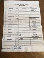 2012 New York Yankees Game Used MLB Umpire Lineup Card Jeter Arod Rivera Girardi