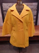 Sandro Anthropologie Wool Jacket Coat Double Breasted Flare Sleeves Yellow Sz M