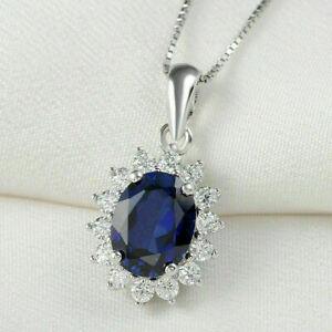 "2Ct Oval Cut Blue Sapphire & Diamond Halo Pendant 18"" Chain 14K White Gold Over"