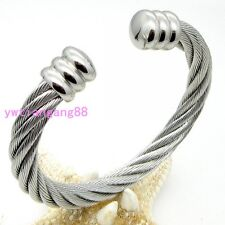 Heavy Charming Women Men's  316L Stainless Steel Cable Wire Cuff Banlge Silver
