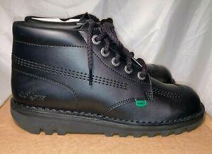 Kickers Womens Hi Kick Leather Lace Up Boots Black Sz UK 8 / 42 rrp £90