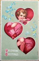 1910 Valentine Postcard: Cupid & Heart Windows - Embossed Color Litho