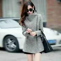 Winter Ladies Woolen Warm Long Jacket Zipper Trench Coat Outwear Overcoat Coats