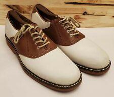 Johnston & Murphy Brennan Saddle White Suede, Tan Leather Sheepskin Sz 9 20-3248