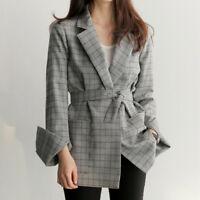 Womens Autumn Long Sleeve Plaid Jacket Blazer Suit Coat Outwear Casual Tops New