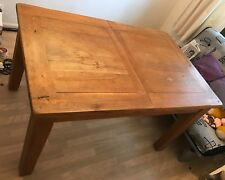 Solid Oak Dining Table with 2 extendable sections(Seats 8), +4 Oak Dining Chairs