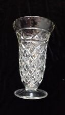 """Vintage Tall pressed glass footed  vase 10"""" x 4"""" base"""