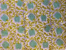 5 yard Indian Cotton Hand Block Sanganeri Printed Handmade Fabric Floral