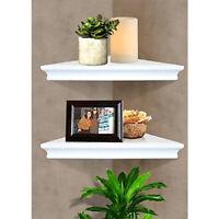 Set of 2 Floating Corner Wall Shelf Home Decor Furniture Shelves Storage New