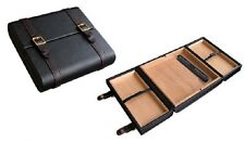 The Augustus Travel Cigar Humidor Black Leather Case Holds 20 Cigars