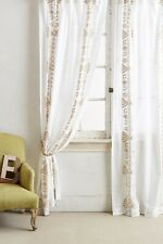 """Anthropologie Langley Embroidered Beige Lined Curtain Cotton 50"""" x 96"""""""