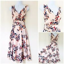 Dress Size 14 Rockabilly Retro 50s Pin Up Pink Tea Dress Swing Flare Floral 1950