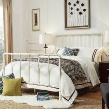 shabby chic bed frame queen size antique iron white metal cottage antique
