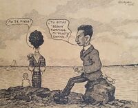 Cuban Art. Drawing by Enrique Almaguer Pavon. Untitled, 1914. Original signed.