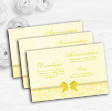 Pretty Floral Vintage Bow & Diamante Yellow Wedding Guest Information Cards